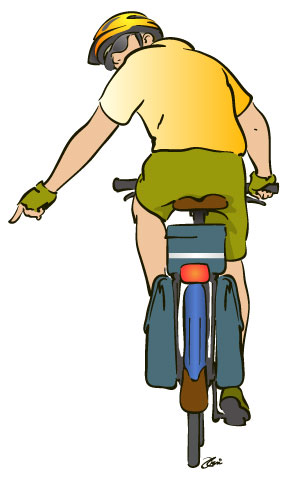 cyclist pointing