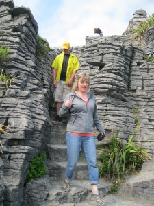 Carol and Marv exploring the pancake rocks