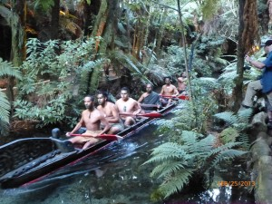 "Maori warriors in thier ""Waka"" canoe"